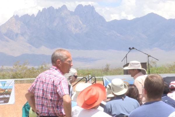 Officials businesses and residents came to the Onate High School Athletic Fields for the celebration of the Organ Mountains Desert Peaks National Monument.