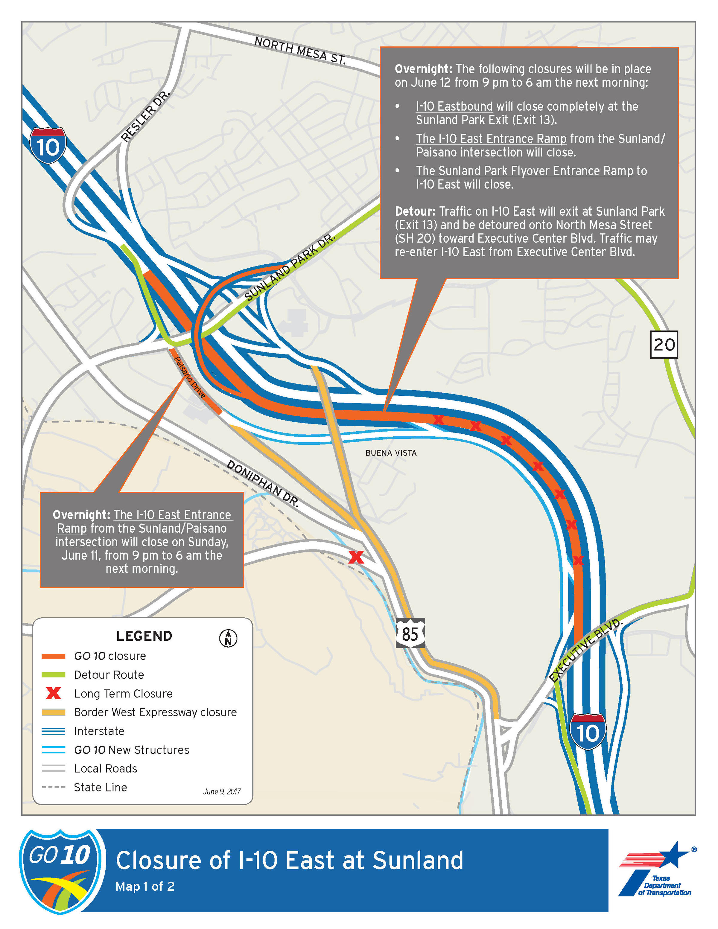 I-10 Closures This Week | KRWG on texas road closures map, scdot road closures map, modot road closures map,