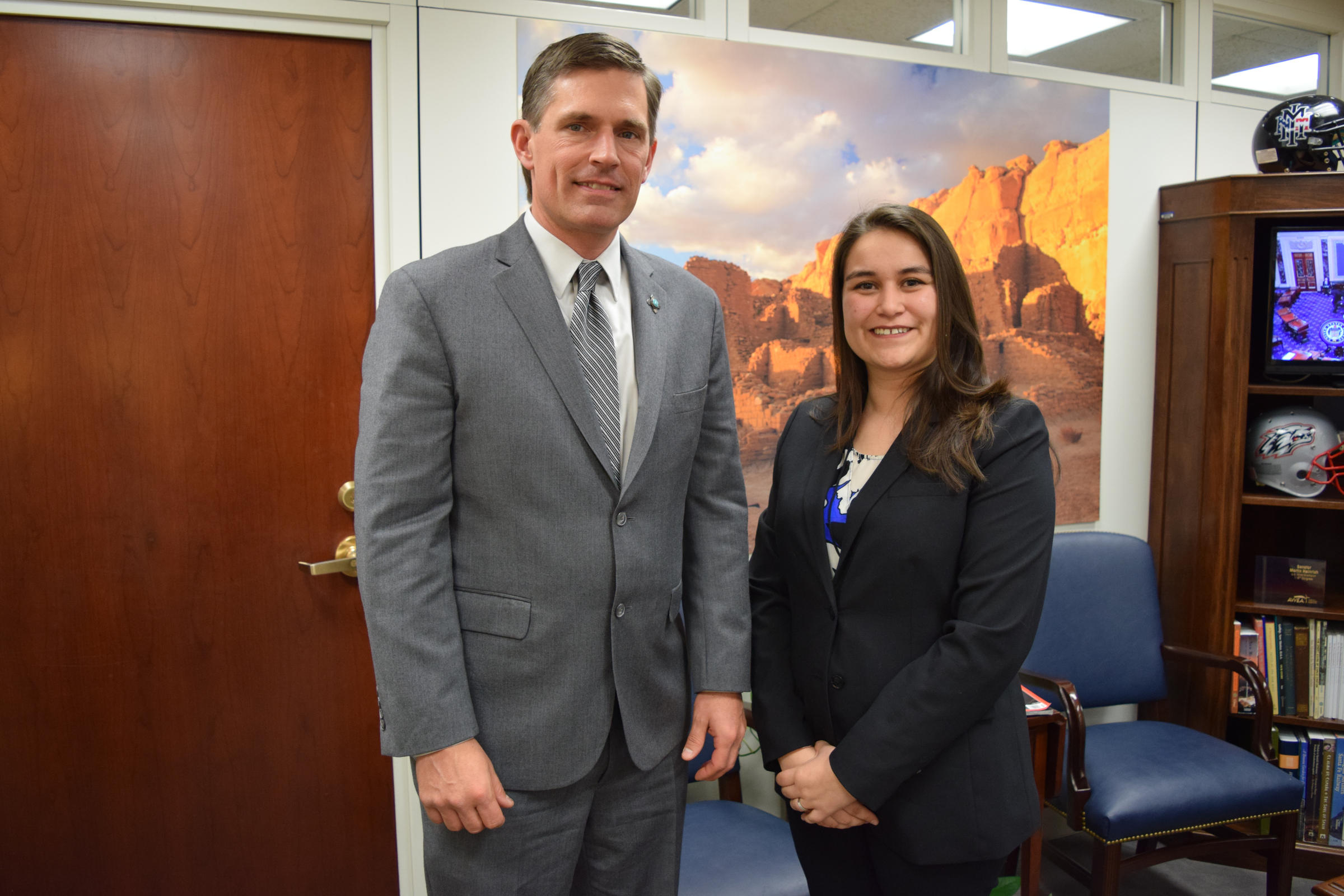 U.S. Senator Martin Heinrich and Ivonne Orozco-Acosta an Albuquerque resident and teacher who was just named New Mexico's 2018 Teacher of the