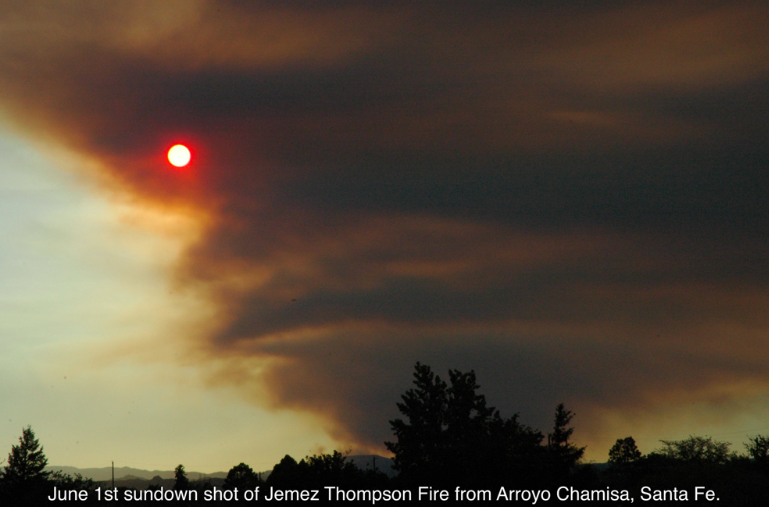 Thompson Ridge fire view from Santa Fe early evening June 1