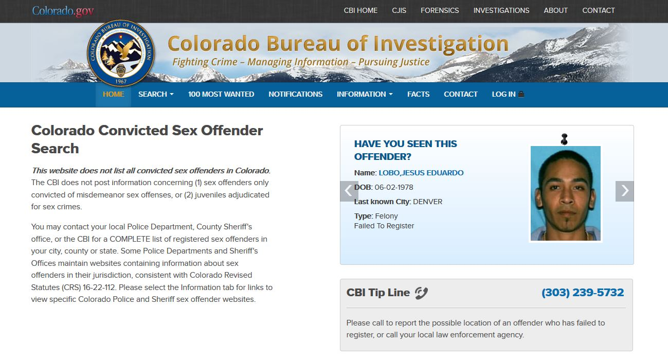 Convicted sex offenders colorado registery