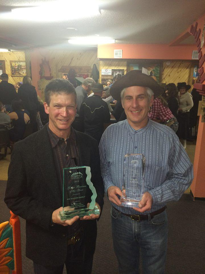 Red Wagon Energy's Todd Kearns, winner of Green Business of the Year, and KSJD's Jeff Pope