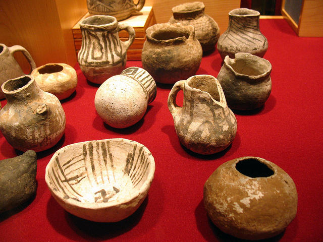 Prehistoric ceramic artifacts at the Anasazi Heritage Center in Dolores, CO