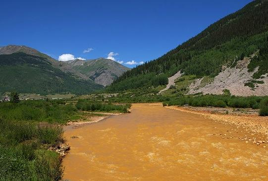 The Animas River just south of Silverton, polluted by a massive mine waste spill less than 24 hours before.