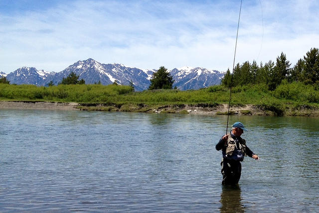 Yvon Chouinard fishing in the Snake River