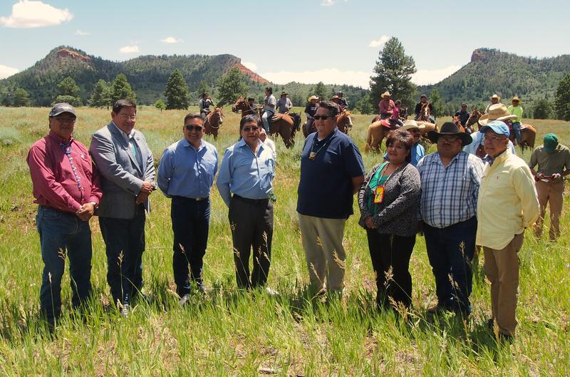 Ute Mountain Ute Tribal Councilwoman Regina Lopez-Whiteskunk (third from right), stands with tribal representatives from the Bear's Ears Intertribal Coalition, who are advocating in support of a national monument designation in southeastern Utah