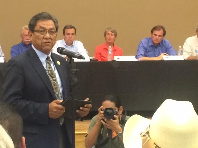 Interior Secretary Sally Jewell listens as Navajo Nation President Russell Begaye speaks in support of a Bears Ears monument designation