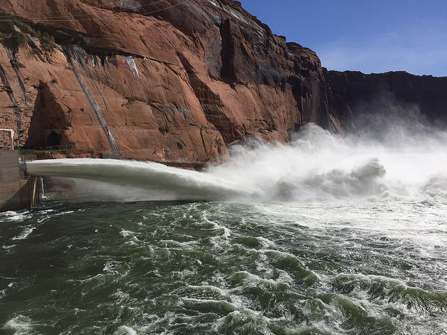 Bypass tubes release water from Glen Canyon Dam into the Colorado River above the Grand Canyon.