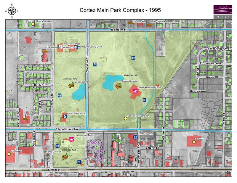 This overlay from the City of Cortez GIS Department shows an overlay of existing structures on top of imagery from 1995