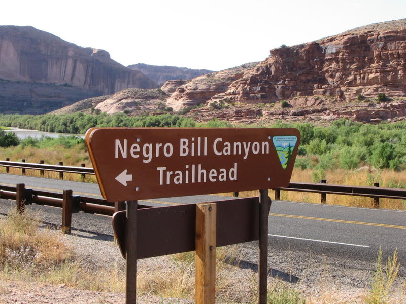The BLM removed this trailhead sign in 2016, but the debate continues over the canyon's name