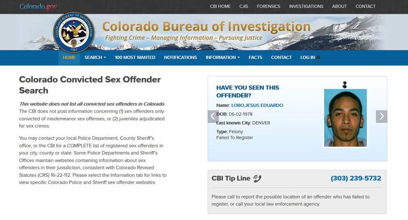 Screenshot of Colorado Sex Offender Registry site