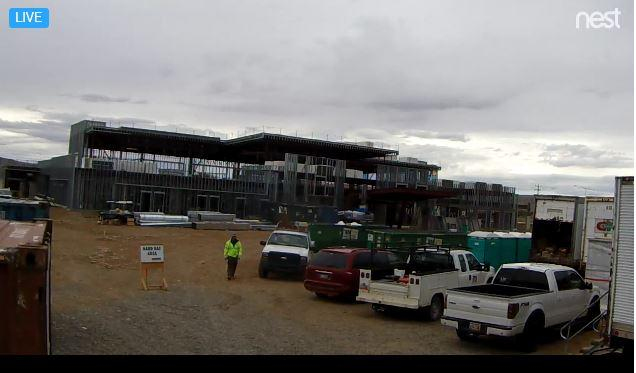 A screenshot of the live stream of the new Utah Navajo Health System clinic under construction in Montezuma Creek. It is scheduled for completion in March of 2018.