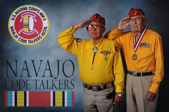 Navajo Code Talkers Bill Toledo and Albert Smith in 2013