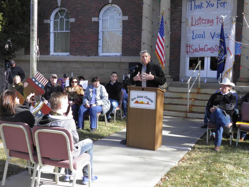 San Juan County commissioner Phil Lyman addresses the crowd at Saturday's rally.