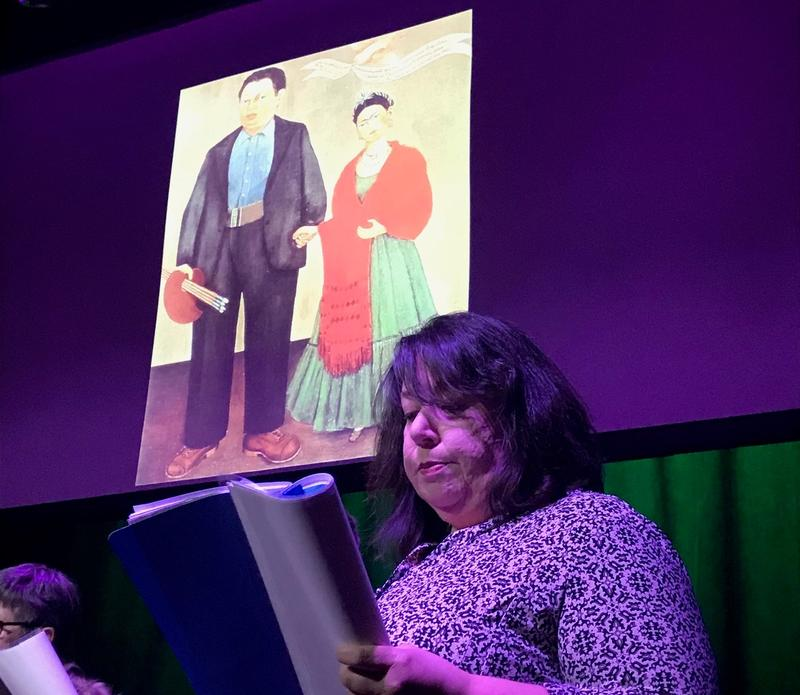 Jodi Jahrling reads a letter to Diego Rivera, written by his lover Frida Kahlo, at a dress rehearsal for the Sunflower Theatre's Valentines Day performances of love letters.