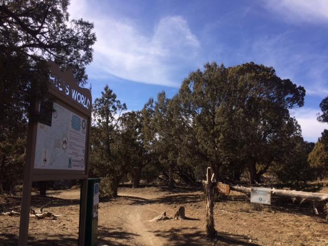 The trailhead to Phil's World mountain biking area