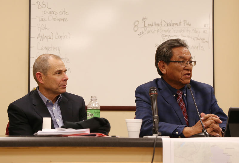 U.S. Rep. John Curtis (R-UT), left, sits next to Navajo Nation President Russell Begaye at a meeting to encourage the Congressman to withdraw his bill encouraging a shrinkage of Bears Ears