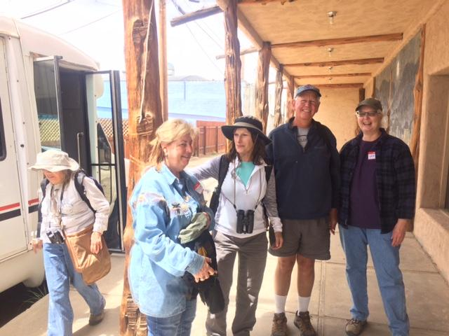 This action shot of birders was taken at the Cortez Cultural Center just exiting the shuttle after a morning in their natural habitat.