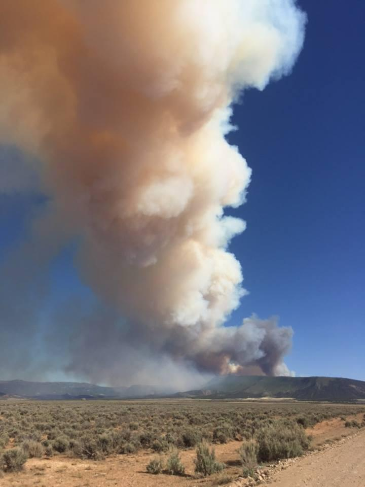 Crews are responding to the Horse Park Fire, in a remote area south of Norwood. The above photo was taken on Sunday evening. Smoke may be visible from parts of Southwestern Colorado and Southeastern Utah.