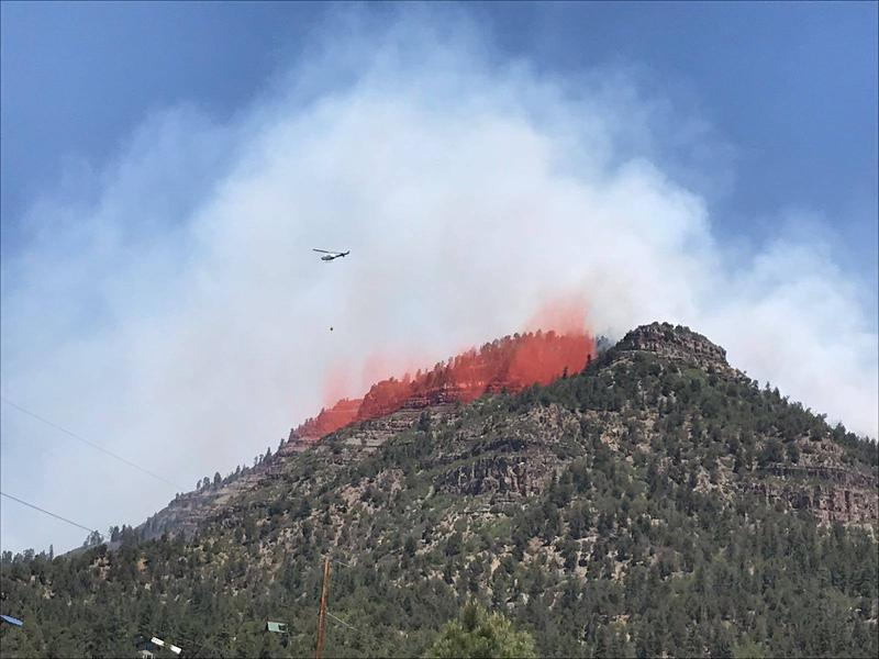 Fire retardant being dumped over the 416 Fire earlier this month.