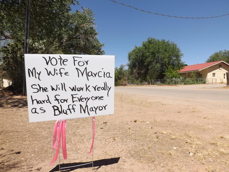 In Bluff, getting elected to its new town council means getting close with its roughly 260 residents. Mayoral candidate Marcia Hadenfeldt's husband of 42 years handmade this sign for their front yard.