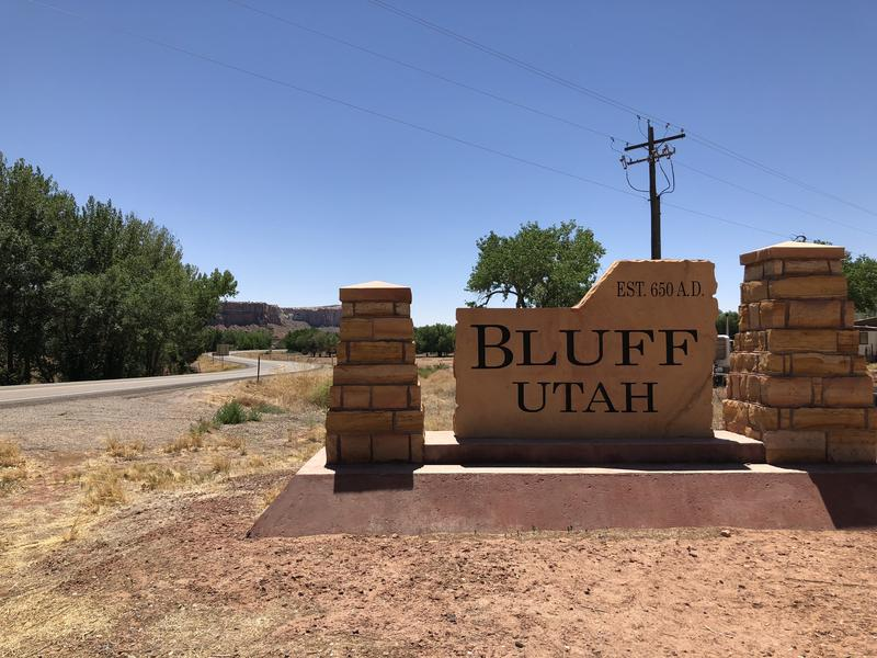 The welcome sign for Bluff gives a nod to the arrival of its indigenous settlers.
