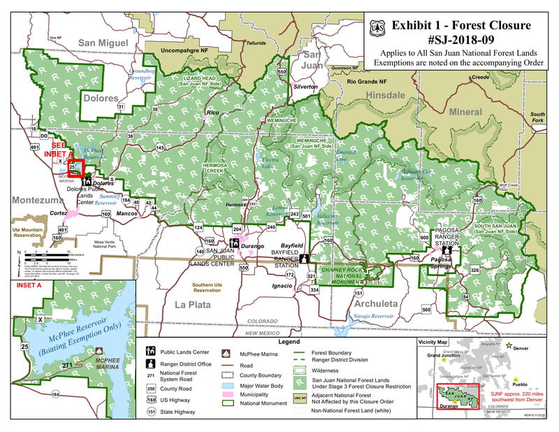 San Juan National Forest Closure Info Burro And 416 Fire Updates