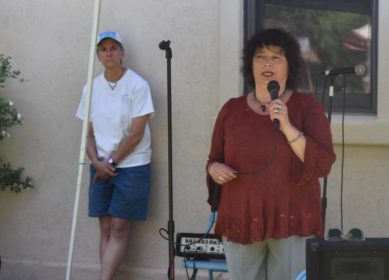 Rosa Sabido speaking at the Mancos United Methodist Church in June.