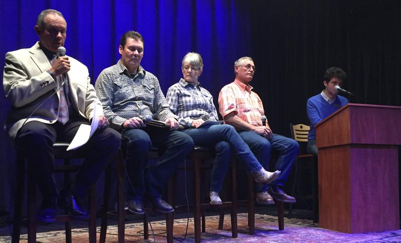 From left: Candidates Jim Candelaria, Steve Chappell, MB McAfee and Jesse James Sattley. KSJD's Daniel Rayzel, right, moderated.