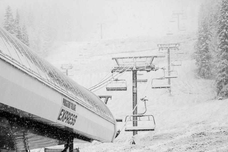Snow falls Monday morning at Purgatory Resort.