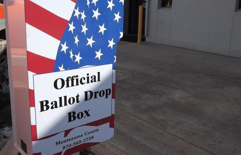 File photo of Montezuma County's drive-thru ballot drop box.