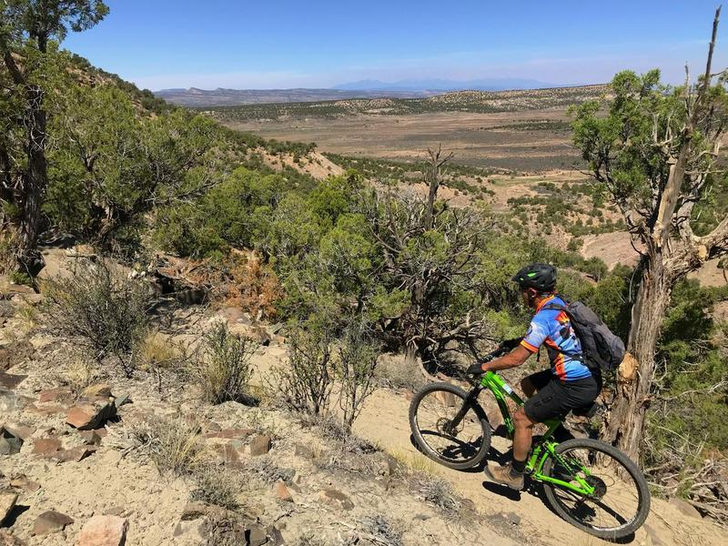 A mountain biker cruises along a desert trail in the West End of Montrose County.