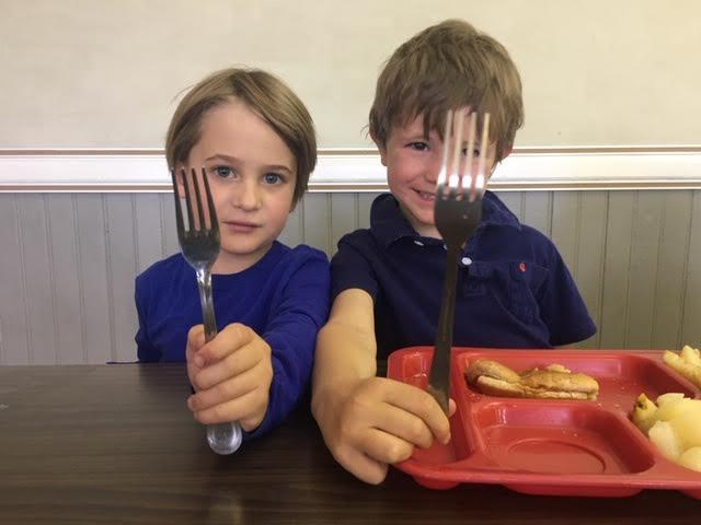 Forest Olson, left, helped spearhead an initiative in the Telluride Elementary School to replace single-use plastic cutlery with reusable metal forks, spoons and knives.