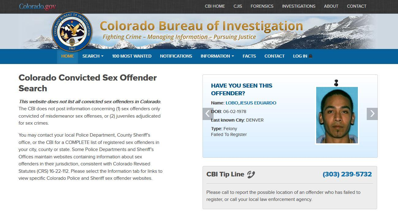 Colorado bureau of investigation sex offender