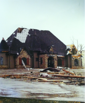 Even though everything around it on 20th&Conn. was flattened in the 2011 Joplin tornado, The Edward Jones Building remained standing, and was used to shelter victims.