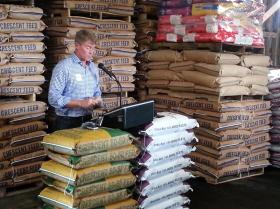 Attorney General Chris Koster, speaking in favor of Amendment 1, at Crescent Feed Mill in Springfield Wednesday.