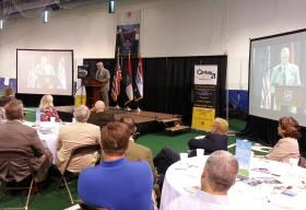 Mayor Bob Stephens delivering his 2014 State of the City address July 10 inside Springfield's Mediacom Ice Park.
