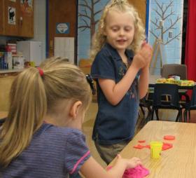 Abigail Cluttor and Kylie Boone Enjoy Kindergarten Camp