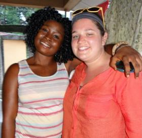Peace Corps volunteer Mary Kerr (Right) with host sister Konya in Bo, Sierra Leone.