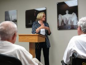 US Senator Claire McCaskill speaks to veterans at the VA Clinic in West Plains on Tuesday.