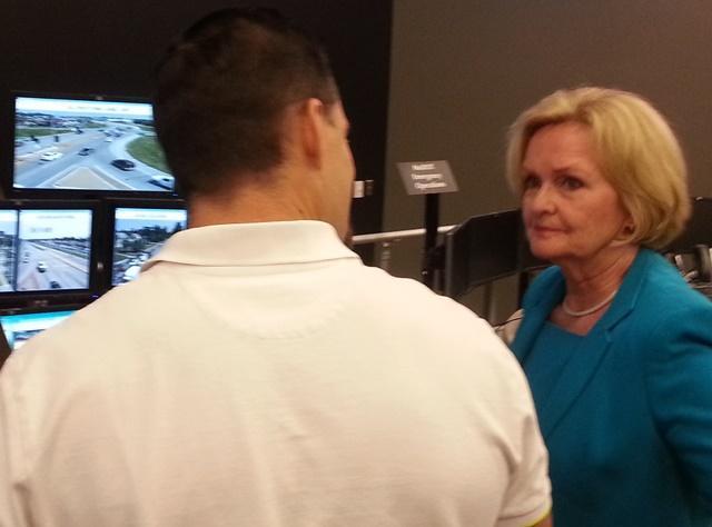 Sen. McCaskill is provided a tour of Springfield's Transportation Management Center by Traffic Engineer Jason Haynes
