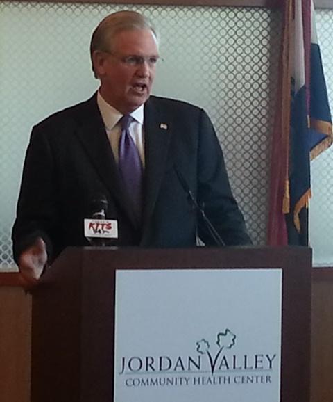 Gov. Nixon promoting Medicaid expansion at Springfield's Jordan Valley Community Health Center in December/Credit: Scott Harvey