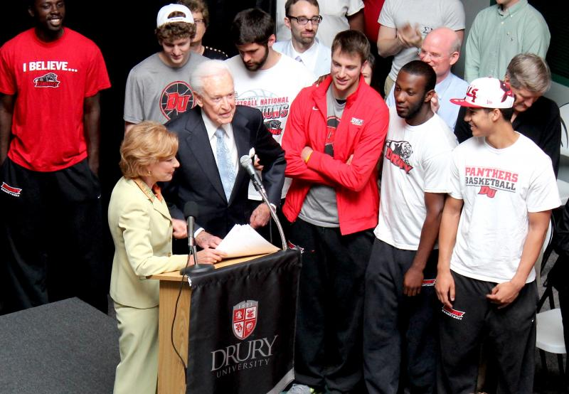 Bob Barker stands before the Drury Panthers Thursday to donate several of his lifetime awards. Credit-Shane Franklin