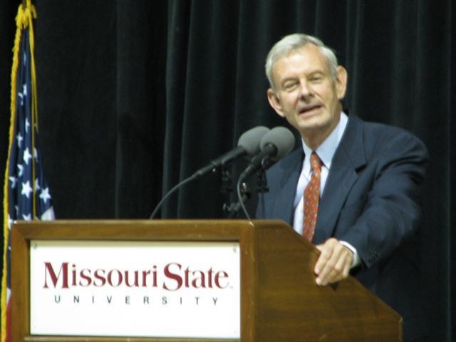 Former Drury University President Dr. John E. Moore, Jr. offers stories of his friend John Q. Hammons Tuesday/Credit: Amber Carr