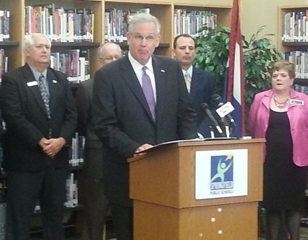 Inside Parkview High School Library in Springfield, Gov. Nixon offers his explanation for vetoing HB 253/Credit: Scott Harvey