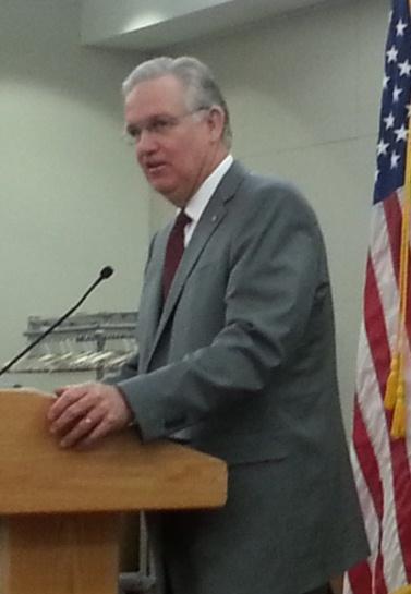 Jay Nixon addresses MSU officials inside the Plaster Student Union Wednesday