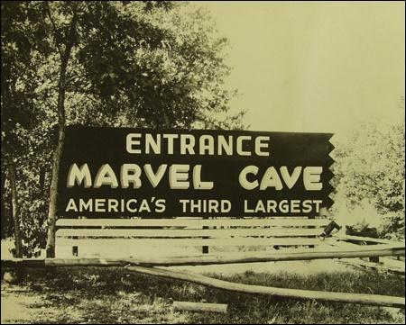 Sign for Marvel Cave as seen in the 1950s
