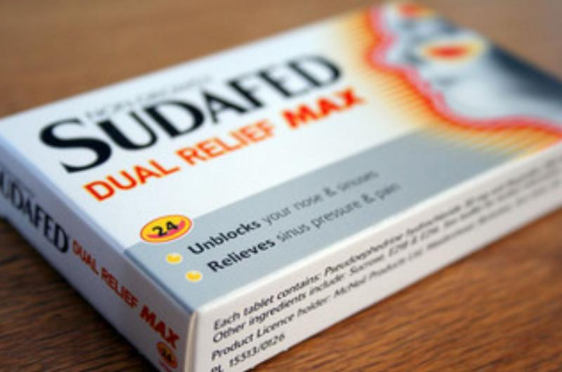 While Sudafed contains the active ingredient pseudoephedrine, Sudafed PE does not/Credit: Scott Harvey