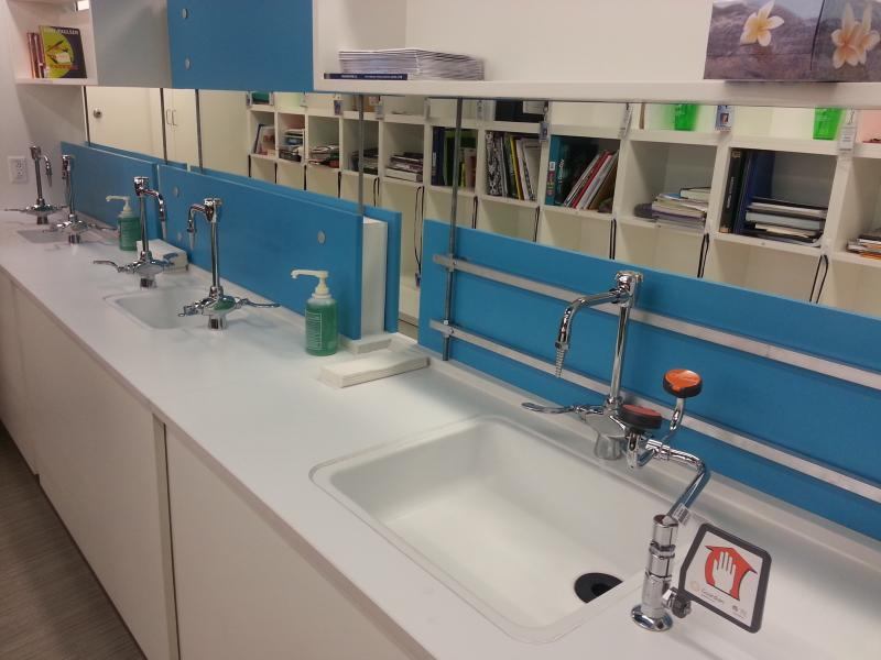 Sinks line the walls inside the program's classroom, where students will receive hands-on application and exposure to the many fields of study in health sciences.