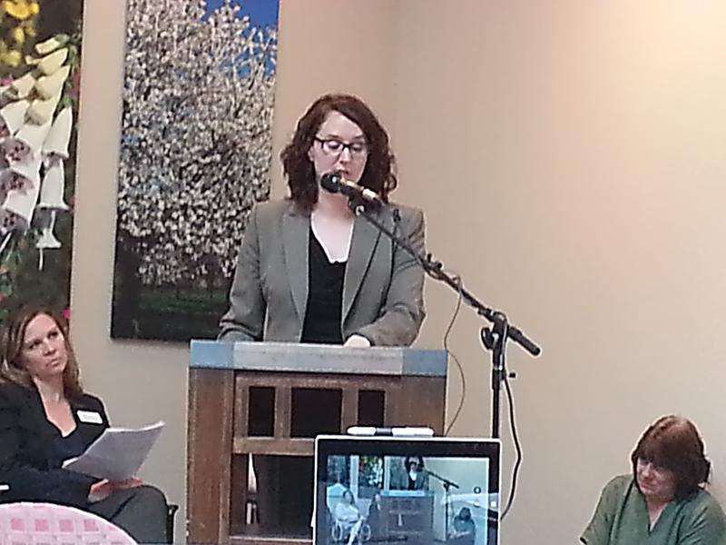 Crystal Brigman Mahaney, Statewide Grassroots Organizer for Missouri Health Care for All, led a discussion Monday regarding local opposition to the proposed budget.